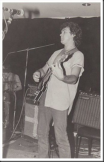 Glyn Mason and his black tele, grooving with The Zarsoff Brothers, circa late 1980s.